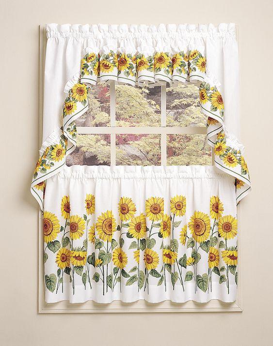 Sunflower 3-Piece Kitchen Curtain Tier Set / Curtainworks.com ...