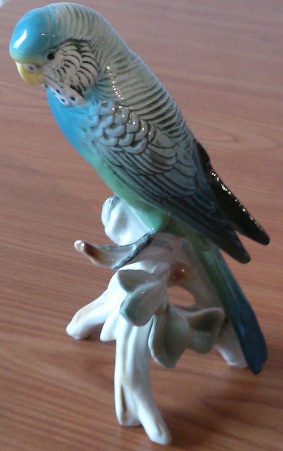 ENS Porzellan Vogel Sittich / Wellensittich Blau Figur