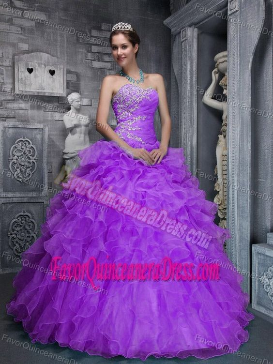 Perfect Appliqued Strapless Purple Organza Quinceanera Dress with Ruffles