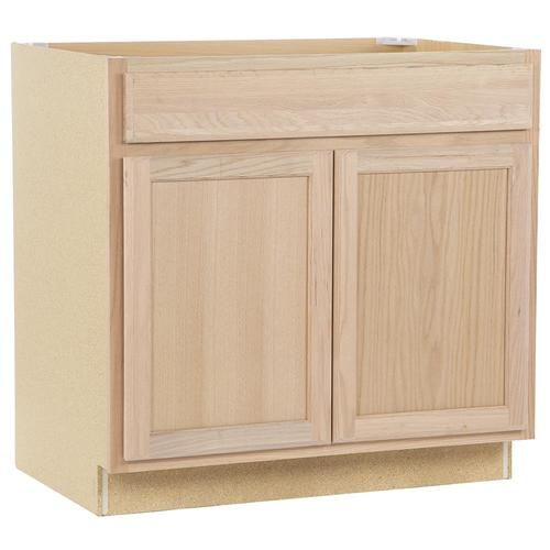 Project Source 36 In W X 35 In H X 23 75 In D Natural Unfinished Door And Drawer Base Stock Cabinet Lowes Com Stock Kitchen Cabinets Unfinished Cabinets Stock Cabinets