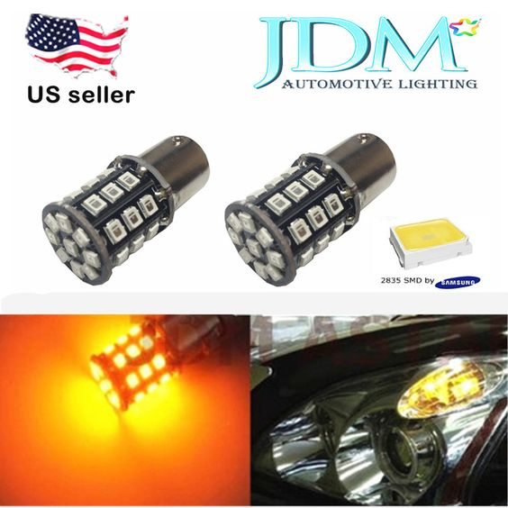JDM ASTAR Car Trailer Amber 1156 BA15S SMD LED Turn Signal Tail Brake Light Bulb #JDMASTAR