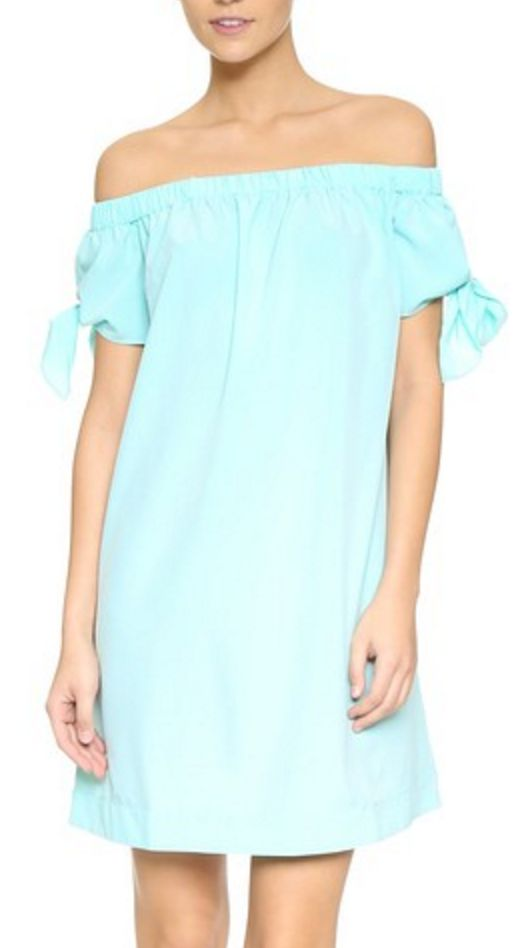 Off-the-Shoulder MIni Dress in Mint