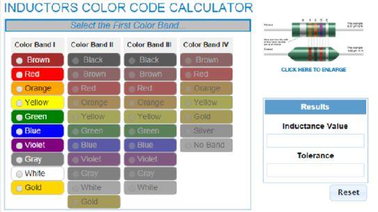 Inductors Color Code Calculator IP\E Pinterest - resistor color code chart