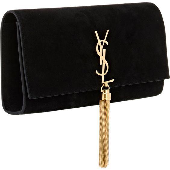 Yves Saint Laurent Monogram Kate Clutch Ysl Y Clutch Bag Black Suede Handbag Black Purses Suede Purse