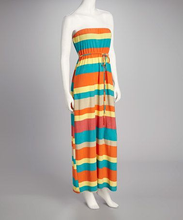 Take a look at this Rust & Jade Stripe Maxi Dress by Boulevard Apparel on #zulily today!