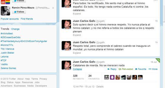 """Juan Carlos Gafo: """"Catalanes de mierda, no se merecen nada"""""""
