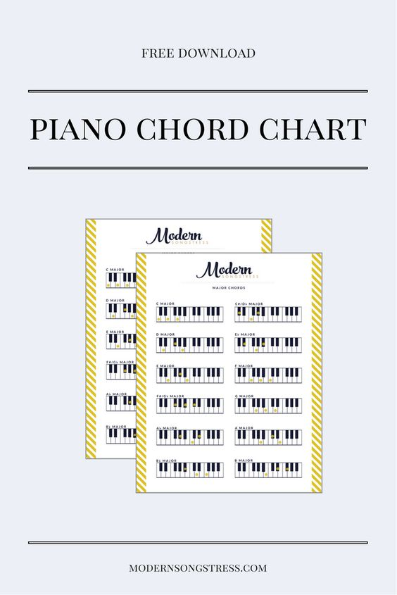 Piano Chord Chart - Free Download Modern Songstress Freebies - piano chord chart