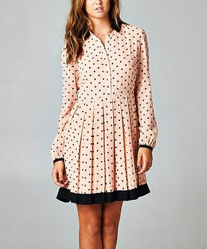 Another great find on #zulily! Esley Collection Pink & Black Polka Dot Long-Sleeve Dress by Esley Collection #zulilyfinds