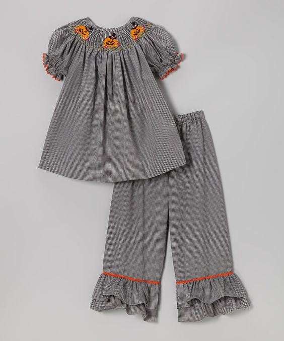 Take a look at this Black Pumpkin Gingham Top & Pants - Infant, Toddler & Girls on zulily today!