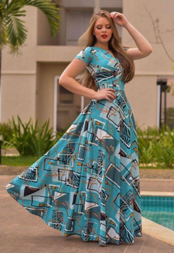 Vestido Longo Suplex Estampado - Moda Evangélica - Flor de Amêndoa