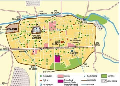 Damas Abbacide Shamy Style دمشق في العهد العباسي تظهر المدينه والابواب والجوامع والكنائس والاحياء ونهر بردى شمالا