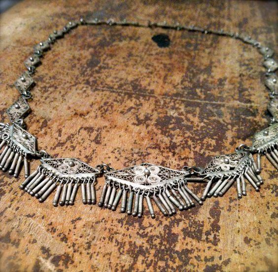 Vintage Silver Fringe Necklace. $55.00, via Etsy.