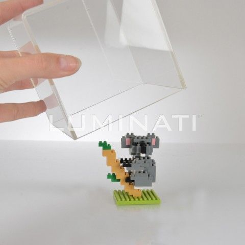 Small clear acrylic display cube, to protect small items from damage. Designed and manufactured in the UK