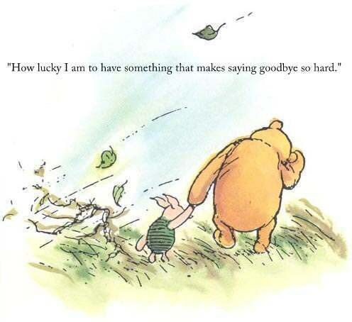 """How lucky I am to have something that makes saying goodbye so hard"" Winnie the Pooh/ A.A. Milne:"