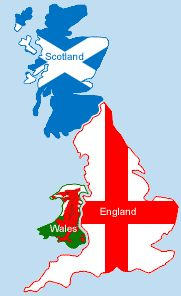 Great Britain is the official name given to the two kingdoms of England and Scotland, and the principality of Wales.  The United Kingdom (UK) includes these areas as well as Northern Ireland.  Britain refers to only England and Wales, though some will shorten Great Britain with this term.: