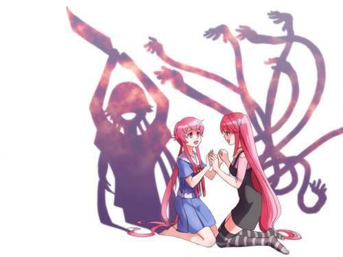 Two of the most adorable, yet violent heroines in anime <3 (Mirai Nikki…