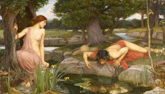 Echo and Narcissus painting by John William Waterhouse .: