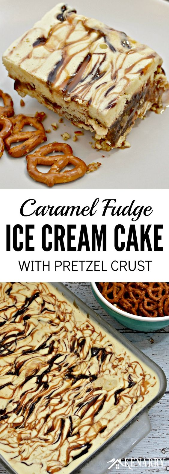 I can't wait to try this recipe idea for Caramel Fudge Ice Cream Cake with a pretzel crust! It looks like a delicious chocolate dessert for a hot summer day or a party with friends.