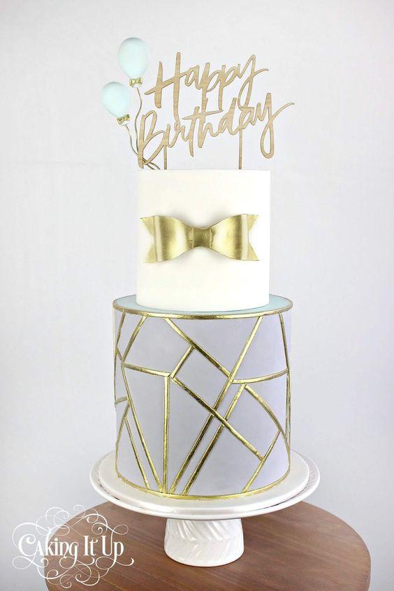 Gray, gold and white, ribbon cake