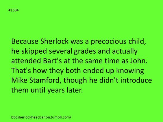 Sherlock head canon, how Sherlock & John both knew Mike Standord