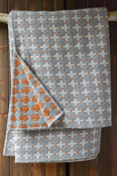 Orange grey and white wool blanket