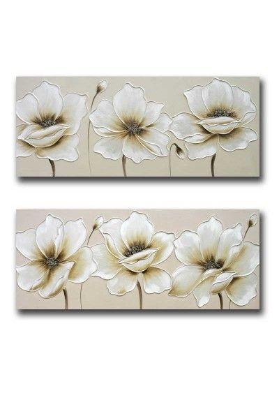 Cuadro Flor Beige 60x140 Flower Paintings En 2019