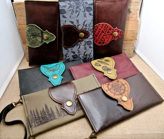 Leather Wallet Long Phone Case with Wrist Strap & by Hollyhawk, $68.00