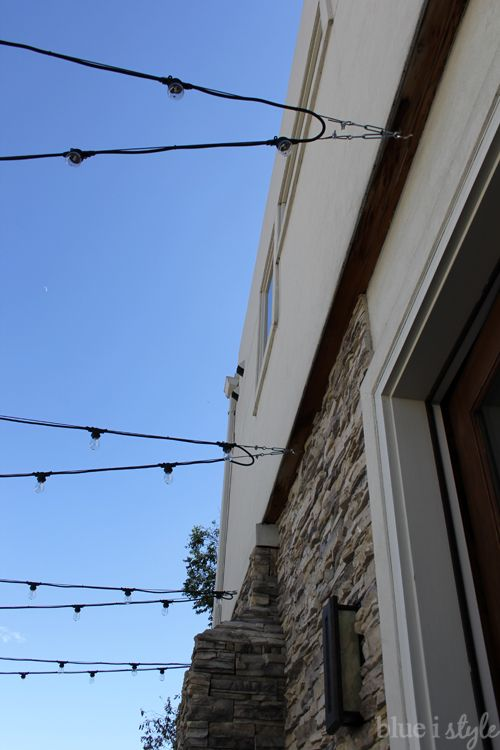 {outdoor style} How to Hang Commercial Grade String Lights String lights, Backyards and ...