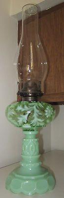 Mosser Glass Jade Jadeite Green Milk Glass Daisy Fern Tall Oil Lamp | eBay