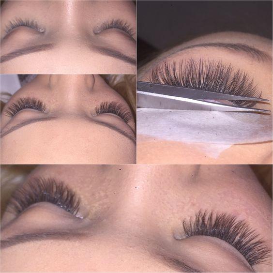 Russian volume lashes. Semi permanent lashes. 2:1 ratio