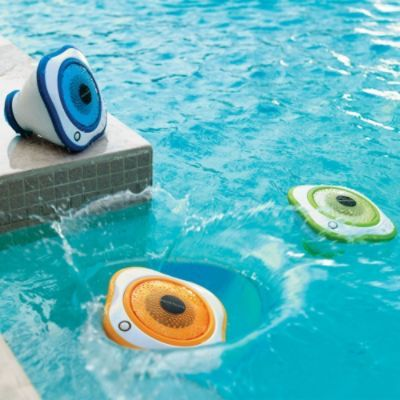 Set of Three Floating LED Pool Speakers:  Create your own sound and light show in an instant with our Set of Three Floating LED Pool Speakers. Simply toss the waterproof speakers into the pool and start the music, which transmits wirelessly via 47MHz from a single bass station. When not in the pool, the speaker work equally well on dry ground for al fresco parties and picnics.