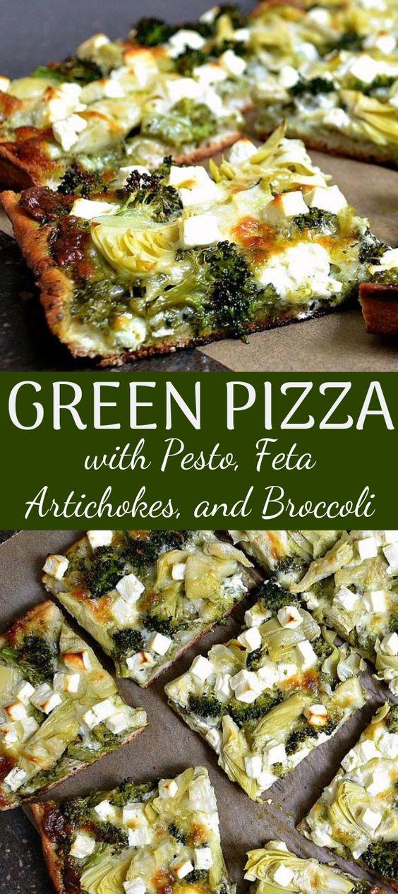 Green Pizza with Pesto, Feta, Artichokes, and Broccoli #vegandinner #meatless