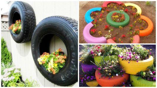 jardín con los neumáticos