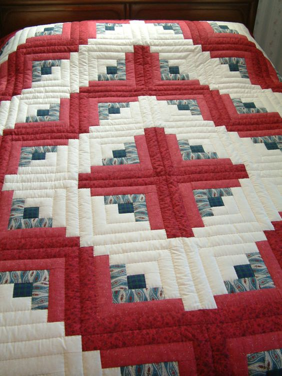 King Size Red and Blue Hand Quilted Log Cabin Quilt (Barn Raising style) Quilt, Red and blue ...
