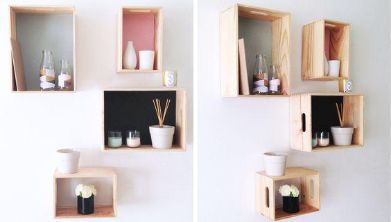 Petites idées pour créer des coins rangements et déco :) de simples étagères personnalisées. Pour poser nos cadres photos, nos livres préférés, ou simplement des objets déco - 2015 MANON DECORATION