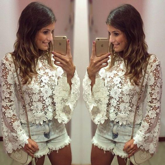 Crochet White Lace Women Blouse Blusas Hollow Sexy Shirts Women Flare Blouses Plus Size Women Tops O-Neck White Shirt