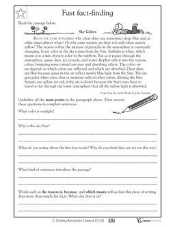 Finding key points - Worksheets & Activities   GreatSchools. Using this worksheet encourages the students to read closely and look for details within a short reading. Using this worksheet it touches upon standard RI.4.1 Refer to details and examples in a text when explaining what the text says explicitly and when drawing inferences from the text.