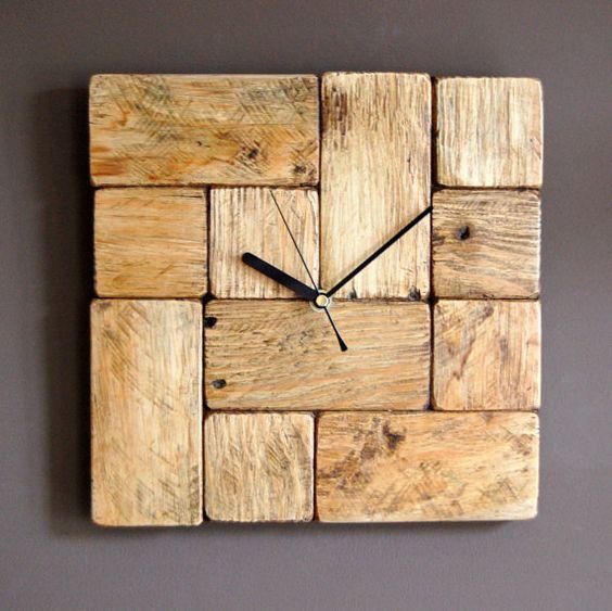 pallet wood tetris style wall clock clocks wall clocks and pallets - Tetris Planken