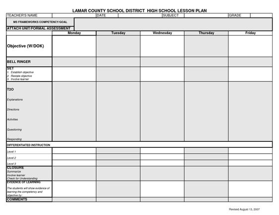 Lesson Plan Template LCSD High School Lesson Plan Template - high school lesson plan template
