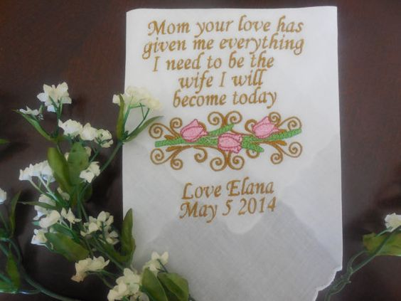 Embroidered Wedding Handkerchief with FREE Envelope - Mother of the Bride