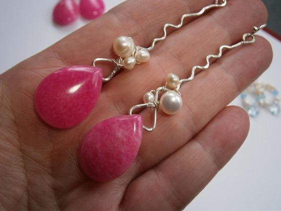 Ohrringe,pink,wirework von kunstpause auf DaWanda.com