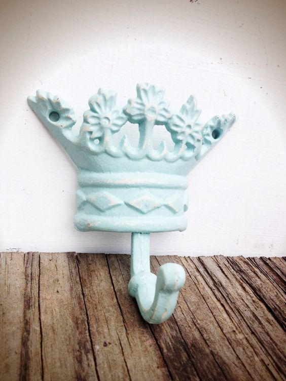 BOLD soft seafoam blue & white princess CROWN // towel wall jewelry hook // GIRLS room // shabby chic victorian hand painted by BOLDHOUSE on Etsy https://www.etsy.com/listing/190282663/bold-soft-seafoam-blue-white-princess