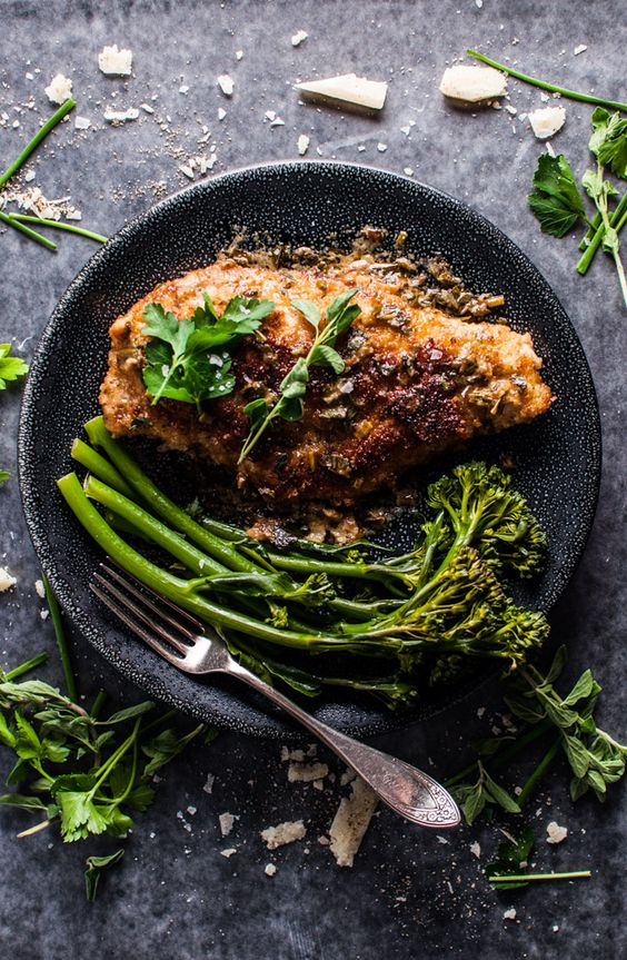 Parmesan Crusted Chicken Breasts With A Fresh Herb Sauce