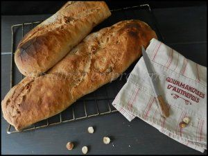 Baguettes de pain aux noisettes