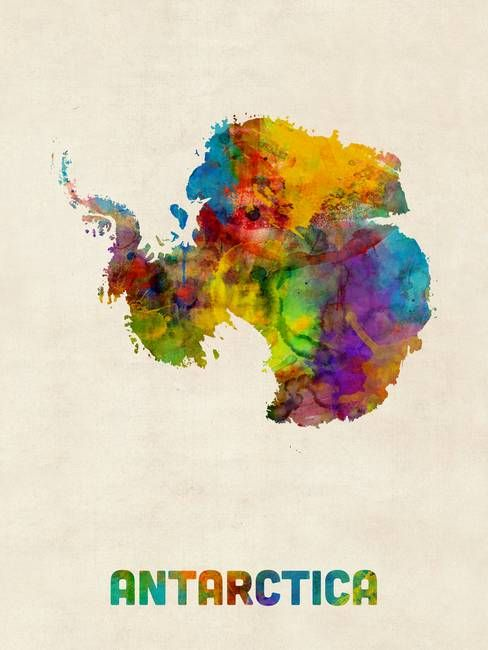 Antarctica Watercolor Map By Michael Tompsett Watercolor Map