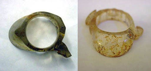 Two early agate archer's rings with projecting tooth Warring States period (left), Han dynasty (right) (University of Missouri Anthropology Museum)