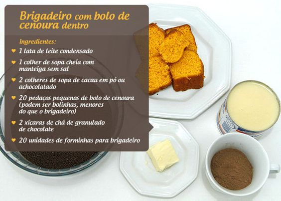 Brigadeiro e bolo de cenoura | Brigadeiro de chocolate recheado com bolo de cenoura - Yahoo Mulher