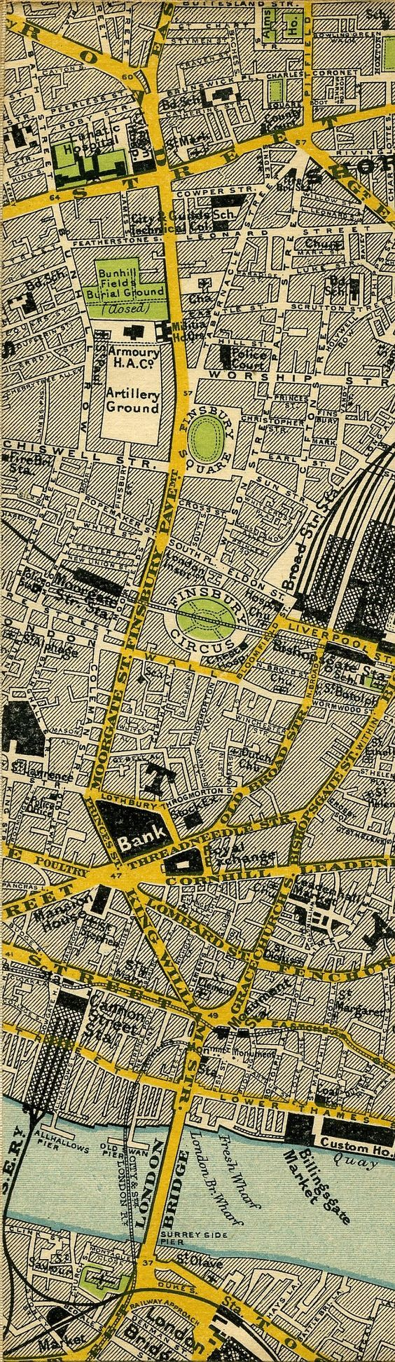 1897 map of central London - Shoreditch and Bank