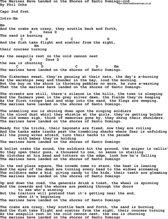 Phil Ochs song The Marines Have Landed On The Shores Of Santo Domingo- by Phil Ochs, lyrics and chords