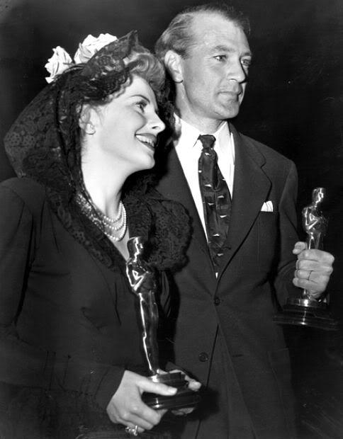 Oscar winners Joan Fontaine (Suspicion) and Gary Cooper (Sergeant York). February, 1942